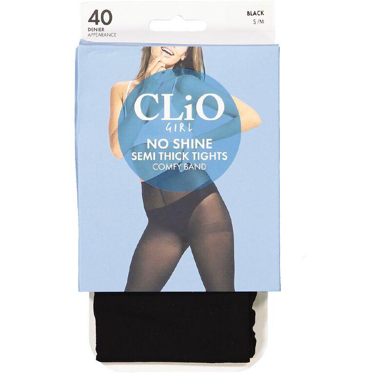 Clio Girl No Shine Opaque Tights 40 Denier 1 Pack, Black, hi-res