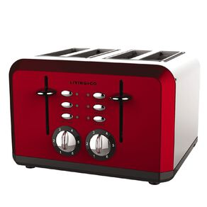 Living & Co Toaster 4 Slice Red