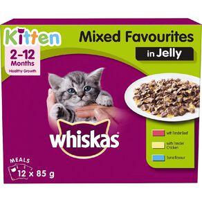 Whiskas Kitten Mixed Favourites in Jelly MVMS 12x85g