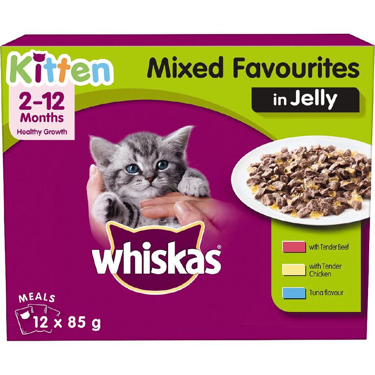 Whiskas Kitten Mixed Favourites in Jelly MVMS 12x85g, , hi-res