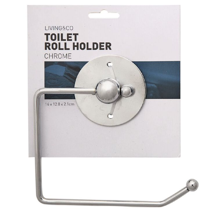 Living & Co Toilet Roll Holder Silver 2 Piece, Silver, hi-res