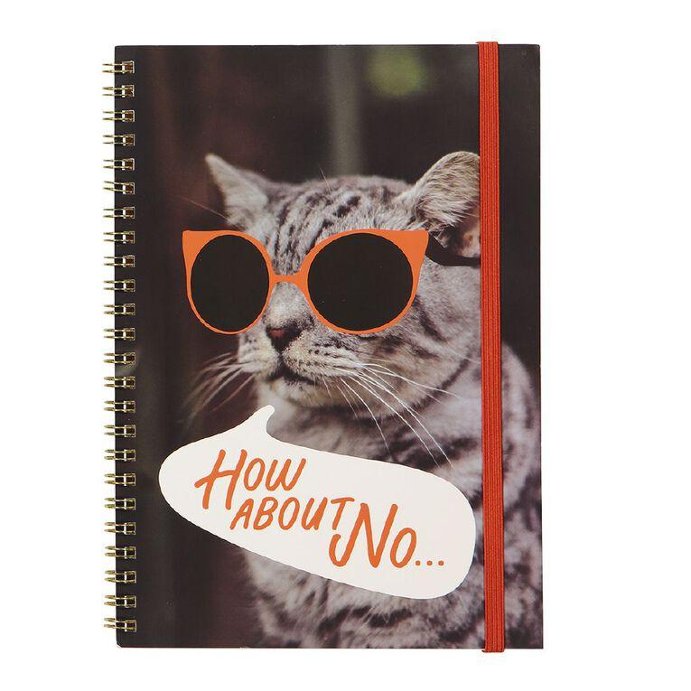 Uniti Fun & Funky Q4 Softcover Spiral Notebook Cat In Sunnies Red A5, , hi-res