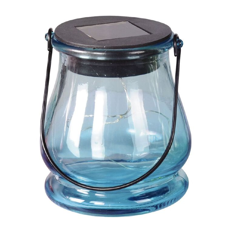 Kiwi Garden Solar Light Colour Glass Jar 9.7cm Assorted, , hi-res