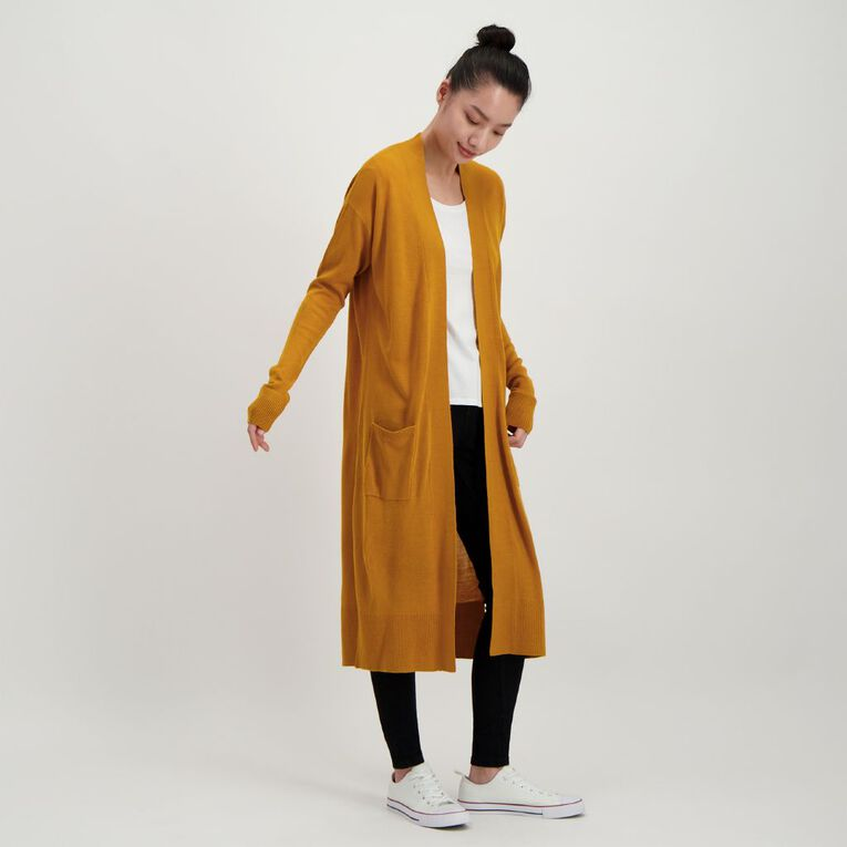H&H Women's Longline Cardigan, Yellow Mid, hi-res