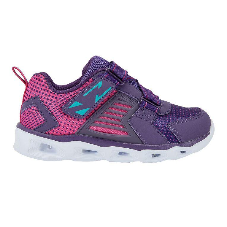 Active Intent Girls' Zig Zag Flash Shoes, Purple, hi-res