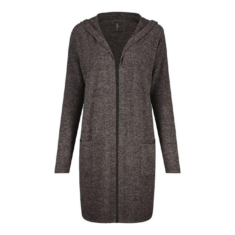 H&H Women's Brushed Knit Cardigan, Charcoal, hi-res
