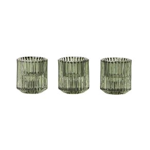 Living & Co Tealight & Table Set of 3 Glass Candle Holder Green