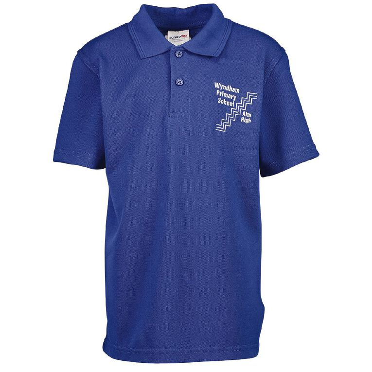 Schooltex Wyndham Primary Short Sleeve Polo with Embroidery, Royal, hi-res