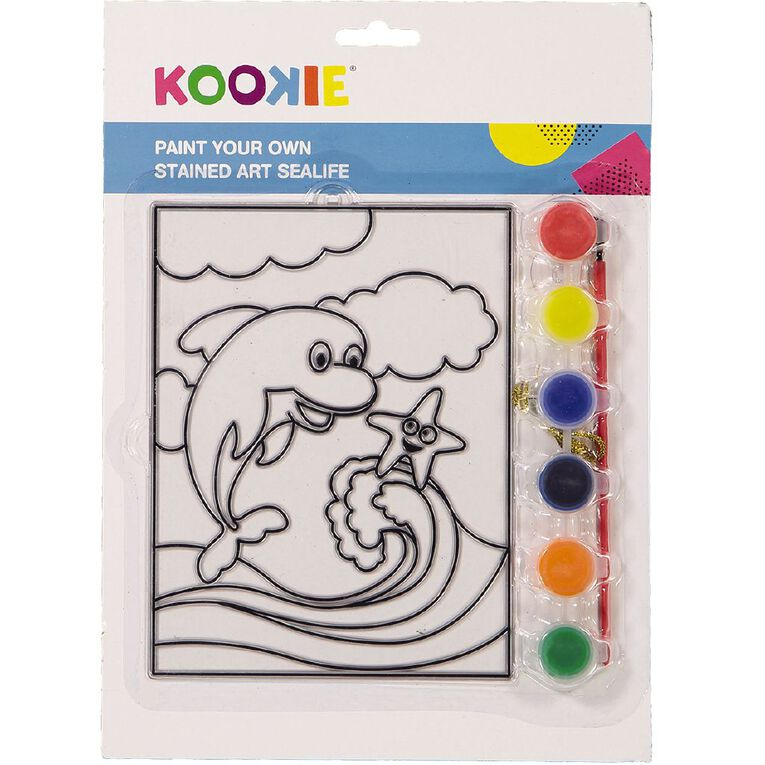 Kookie Paint Your Own Stained Art Blister Card Sealife, , hi-res
