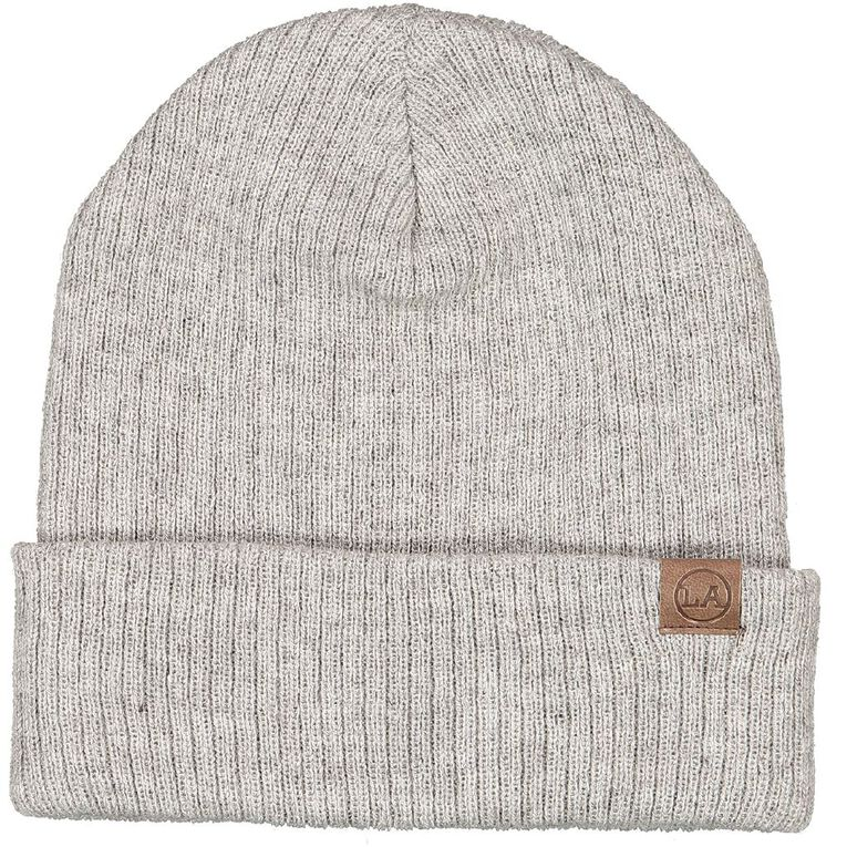 H&H Men's Ribbed Slouch Beanie, Grey Marle, hi-res image number null