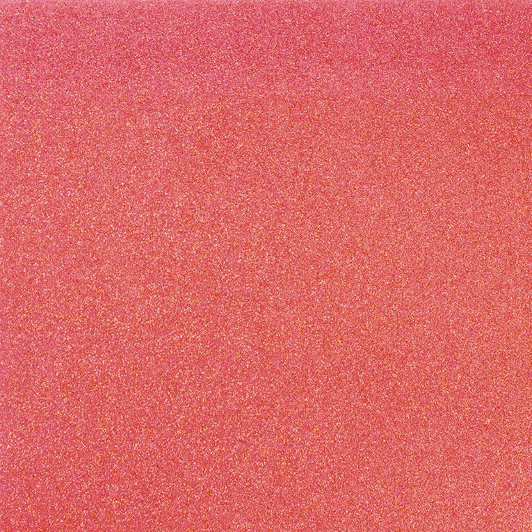 American Crafts Cardstock Glitter Medium 12 x 12 Neon Coral Pink, , hi-res