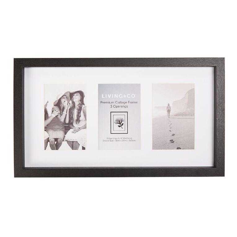 Living & Co Premium Collage Frame 3 Opening Black 4in x 6in, Black, hi-res