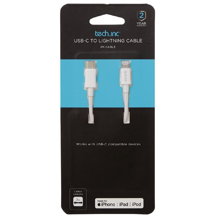 Tech.Inc USB-C to Lightning Cable 2M White, , hi-res