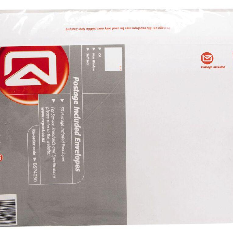 New Zealand Post C4 Envelope Prepaid Non Window 50 Pack, , hi-res