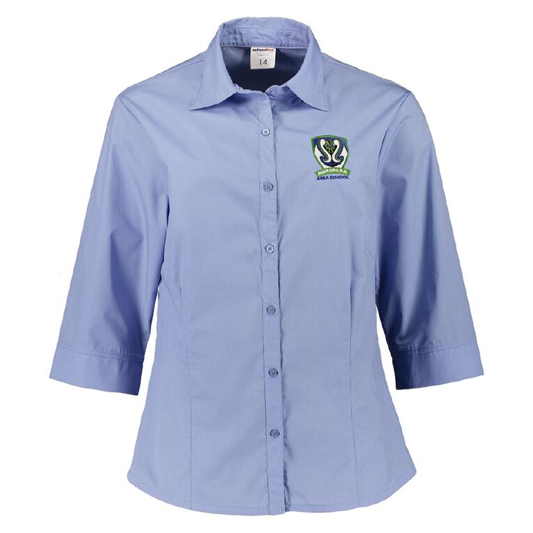 Schooltex Murupara Area 3/4 Blouse with Embroidery, Blue, hi-res