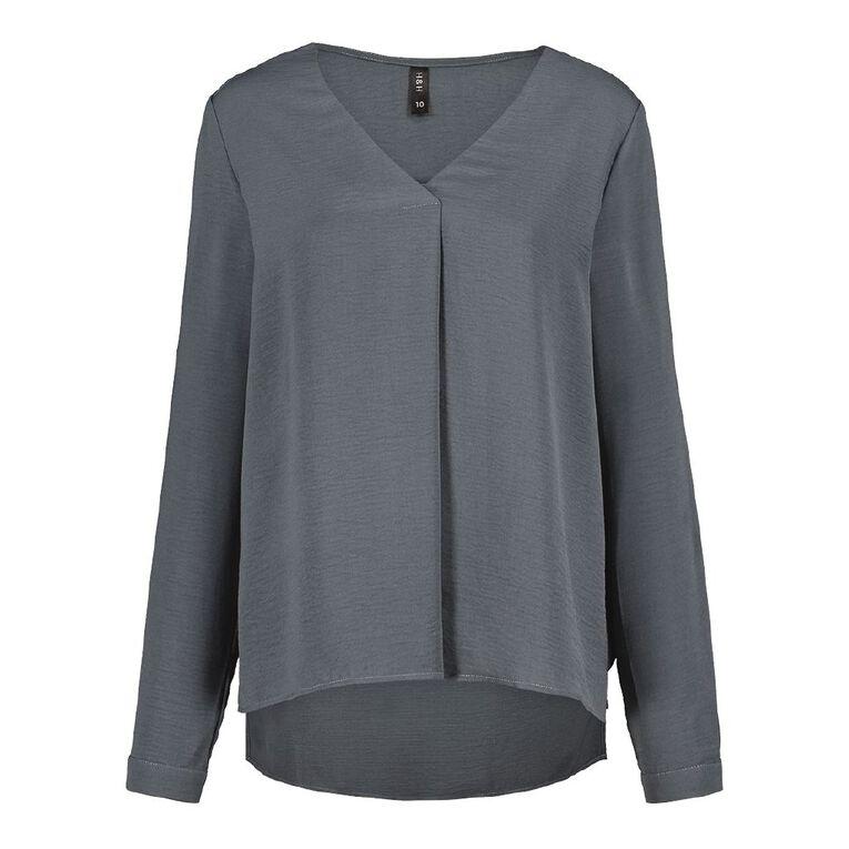 H&H Women's Twill Tuck Blouse, Grey Dark, hi-res
