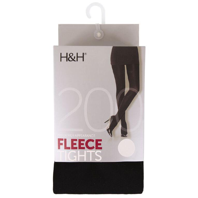 H&H Women's Opaque 200D Fleece Tights, Black, hi-res image number null