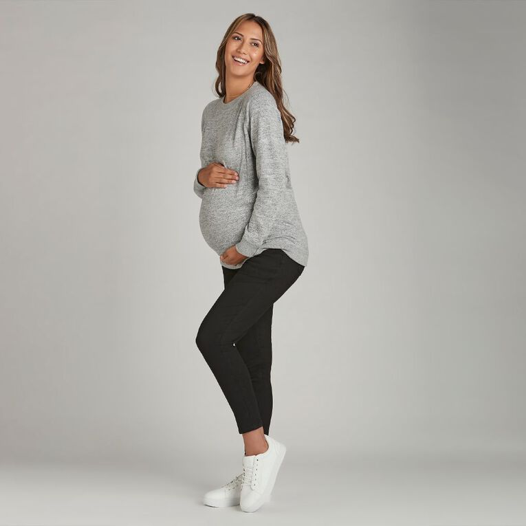 H&H Maternity Women's Brushed Zip Nursing Top, Grey Marle, hi-res