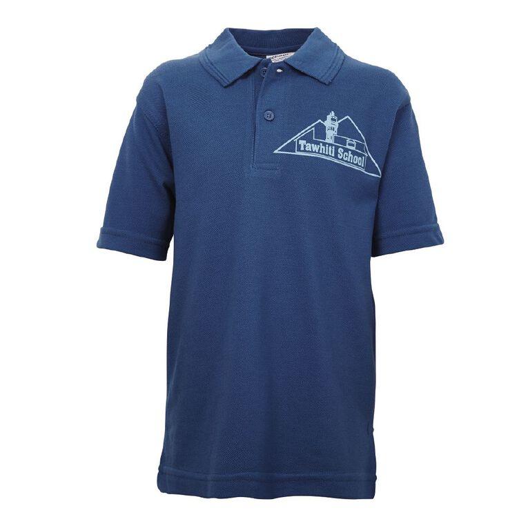 Schooltex Tawhiti Short Sleeve Polo with Transfer, Royal, hi-res