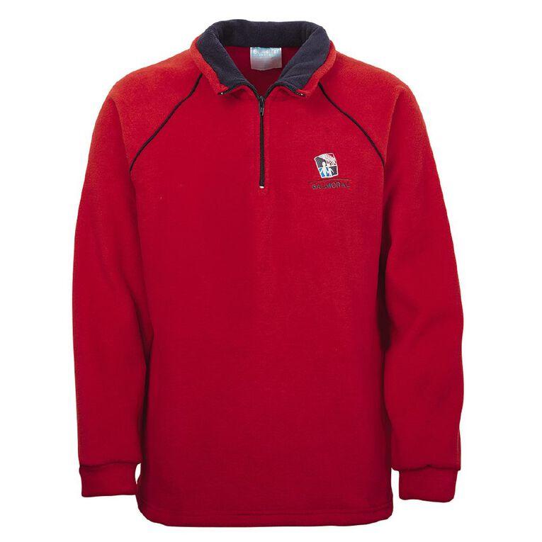 Schooltex Balmoral Intermediate Polar Fleece Top with Embroidery, Red/Navy, hi-res