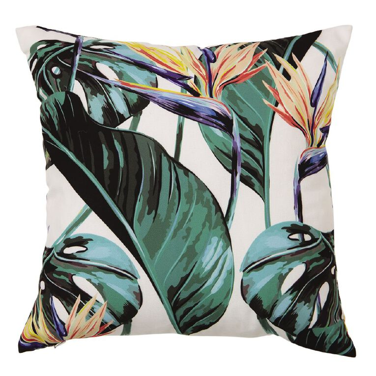 Living & Co Bird of Paradise Cushion White 43cm x 43cm, White, hi-res