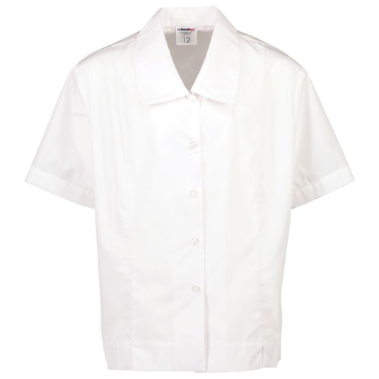 Schooltex Ladies' Short Sleeve Drop Collar Blouse, White, hi-res