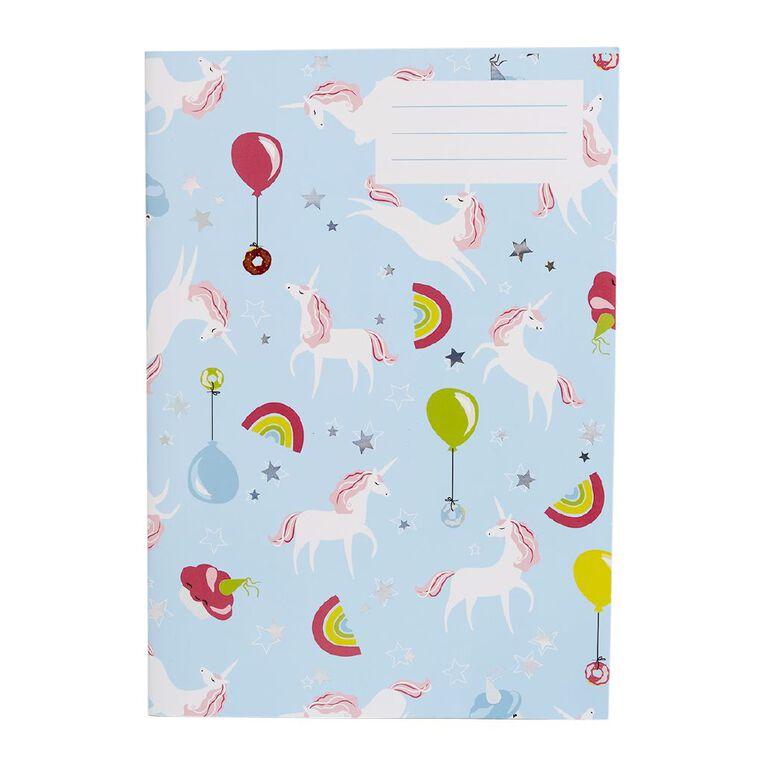 Kookie Bright Exercise Notebook Unicorn Blue Light A4, , hi-res