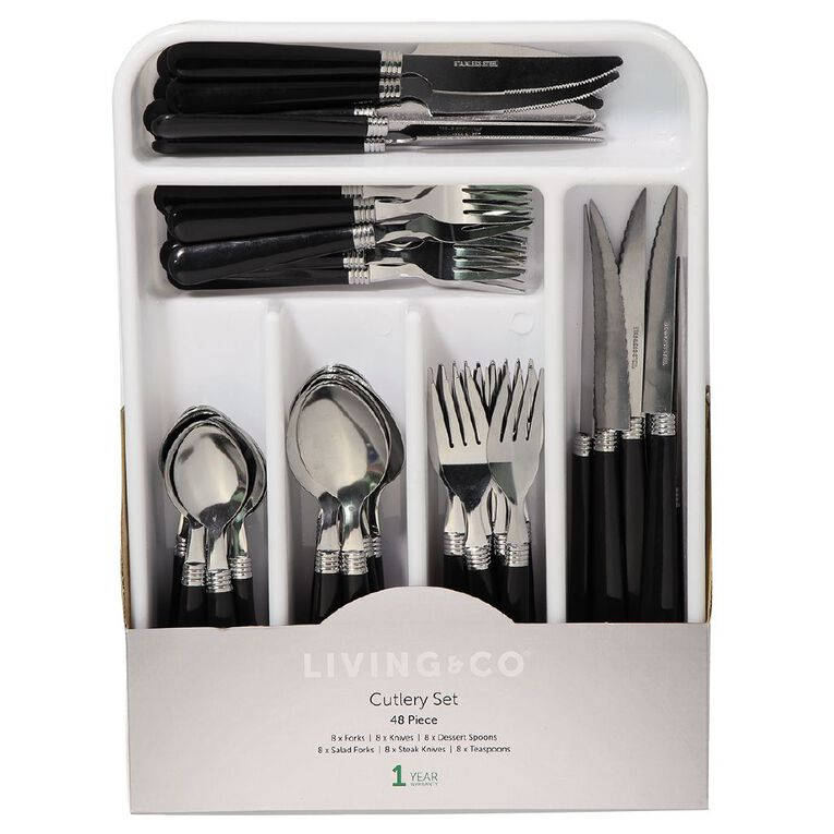Living & Co Cutlery Set with Tray Black 48 Piece, , hi-res