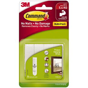 Command Picture Hanging Strips Value Pack 8 Pack White Medium