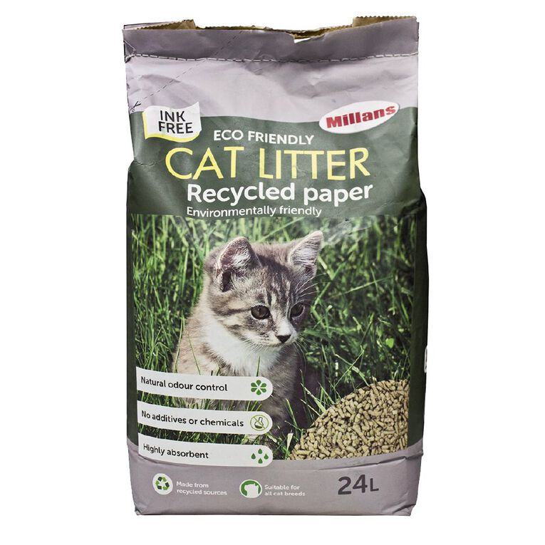 Millans Cat Litter Eco-Friendly Recycled Paper Ink-Free 24L, , hi-res