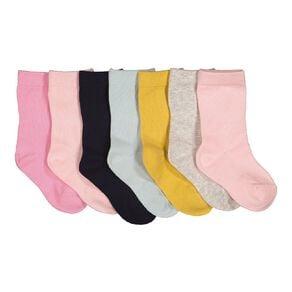 H&H Infants Girls' Plain Stay On Crew Socks 7 Pack