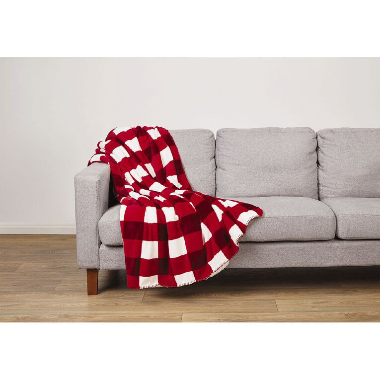 Living & Co Flannel Printed Sherpa Throw Red 127cm x 152cm, Red, hi-res image number null
