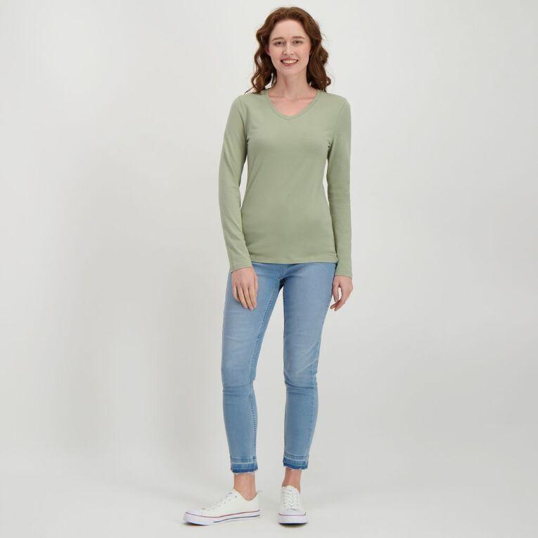 H&H Women's Long Sleeve V Neck, Green Light, hi-res