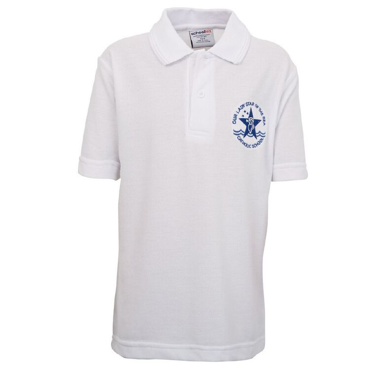 Schooltex Our Lady Star of the Sea Short Sleeve Polo with Embroidery, White, hi-res
