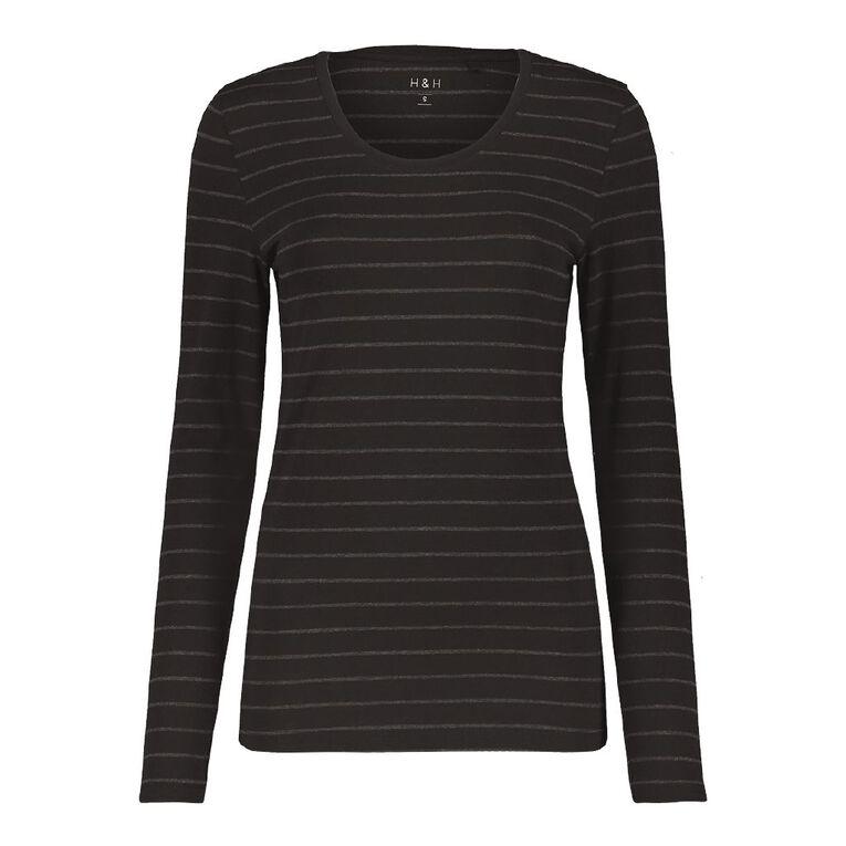 H&H Long Sleeve Scoop Neck Top, Black/Grey, hi-res