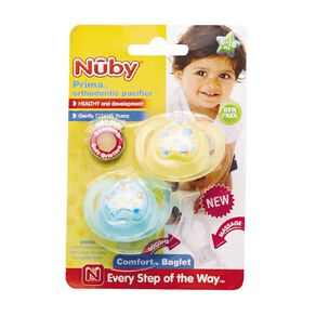 Nuby Prima Orthodontic Pacifier 6-18 Months 2 Pack Assorted