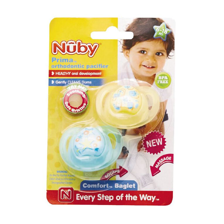 Nuby Prima Orthodontic Pacifier 6-18 Months 2 Pack Assorted, , hi-res