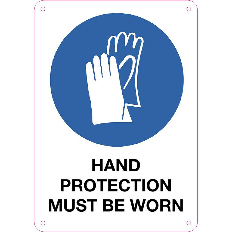 WS Hand Protection Must be Worn Sign Small 340mm x 240mm, , hi-res