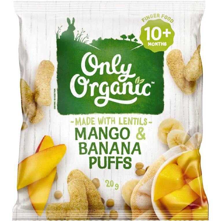 Only Organic Mango Banana Puffs 20g, , hi-res