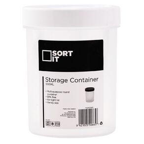 Living & Co Storage Container Round Assorted 500ml