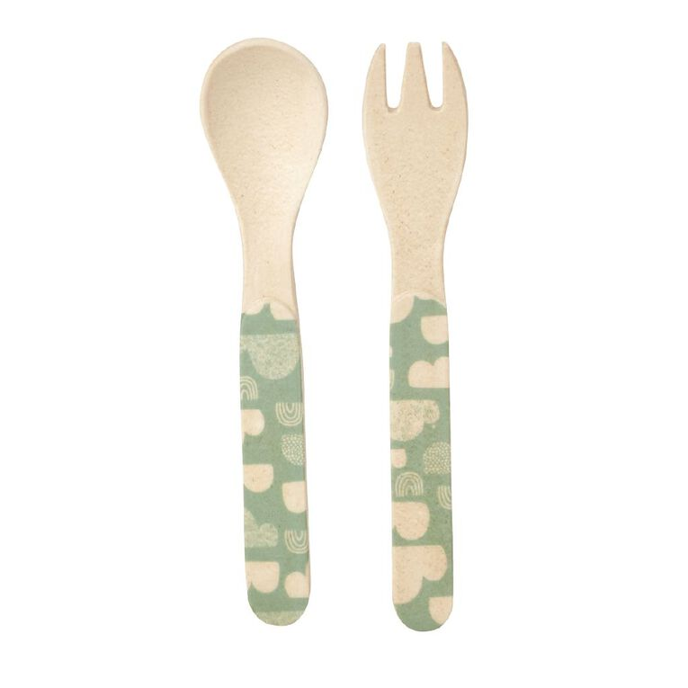 Living & Co Bamboo Printed Cutlery Set 2 Piece, , hi-res