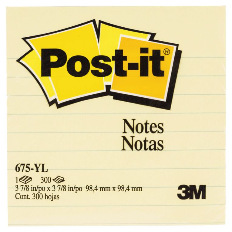 Post-It Notes 675-Yl 98.4mm x 98.4mm Yellow Yellow, , hi-res