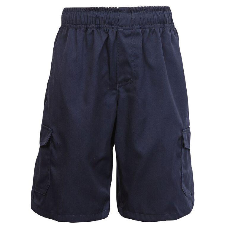 Schooltex Utility Pocket Shorts, Navy, hi-res
