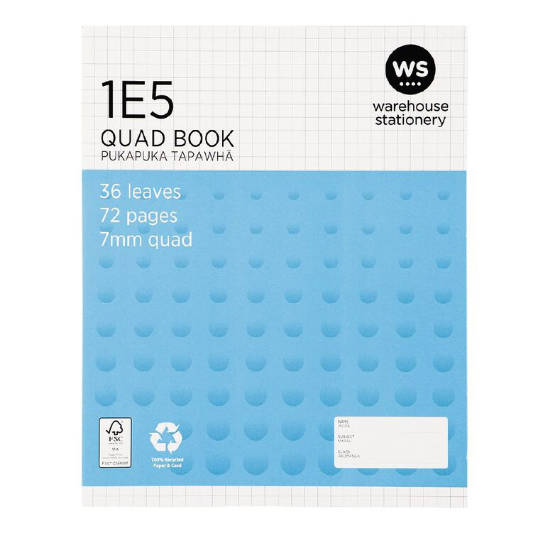 WS Exercise Book 1E5 7mm Quad 36 Leaf Blue, , hi-res
