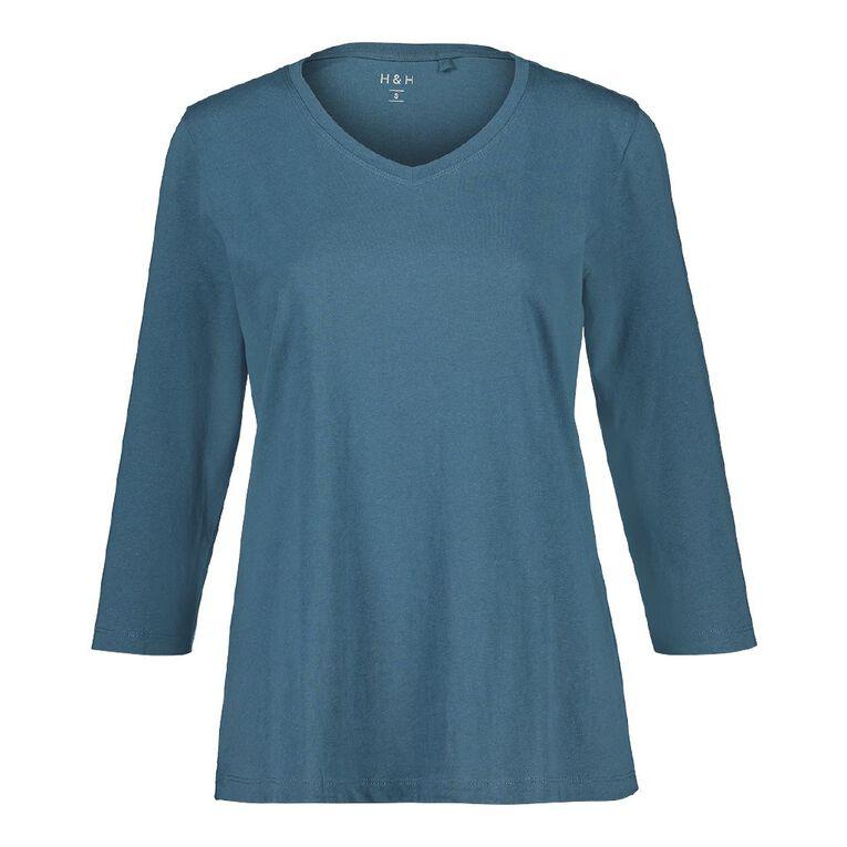 H&H H&H Women's 3/4 Sleeve V-Neck Tee, Blue, hi-res