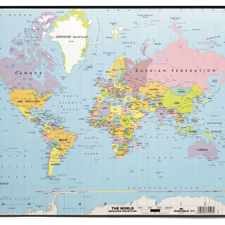Durable World Map Desk Mat 530mm x 400mm Black, , hi-res