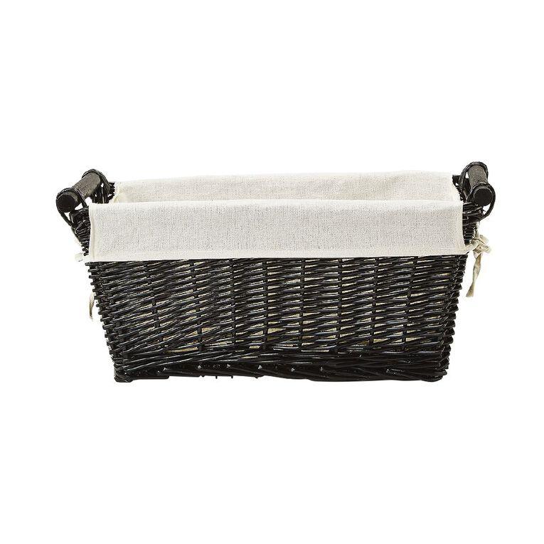 Living & Co Wicker Rectangle Basket Natural Medium, , hi-res
