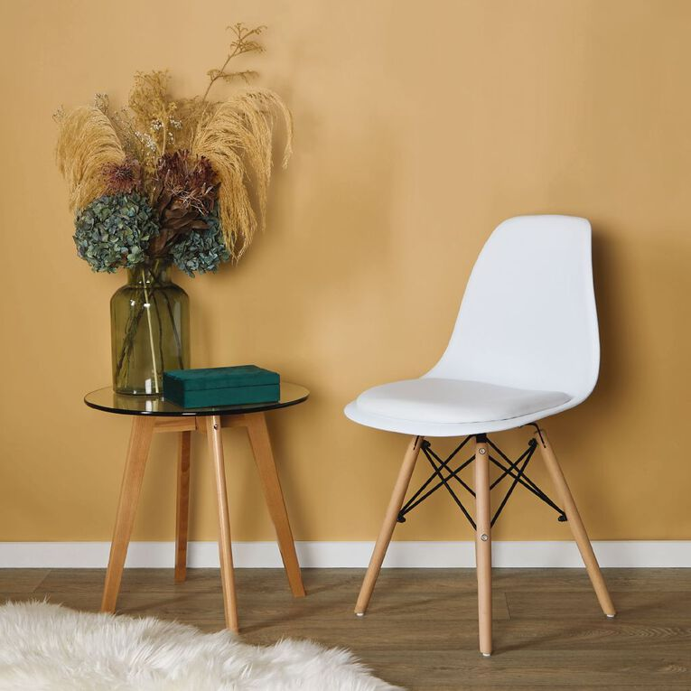 Living & Co Dining Chair Padded Seat with Wooden Legs White, , hi-res