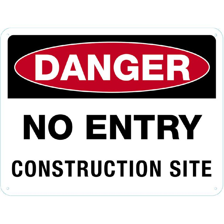 WS Danger Do Not Enter Construction Sign Large 450mm x 600mm, , hi-res