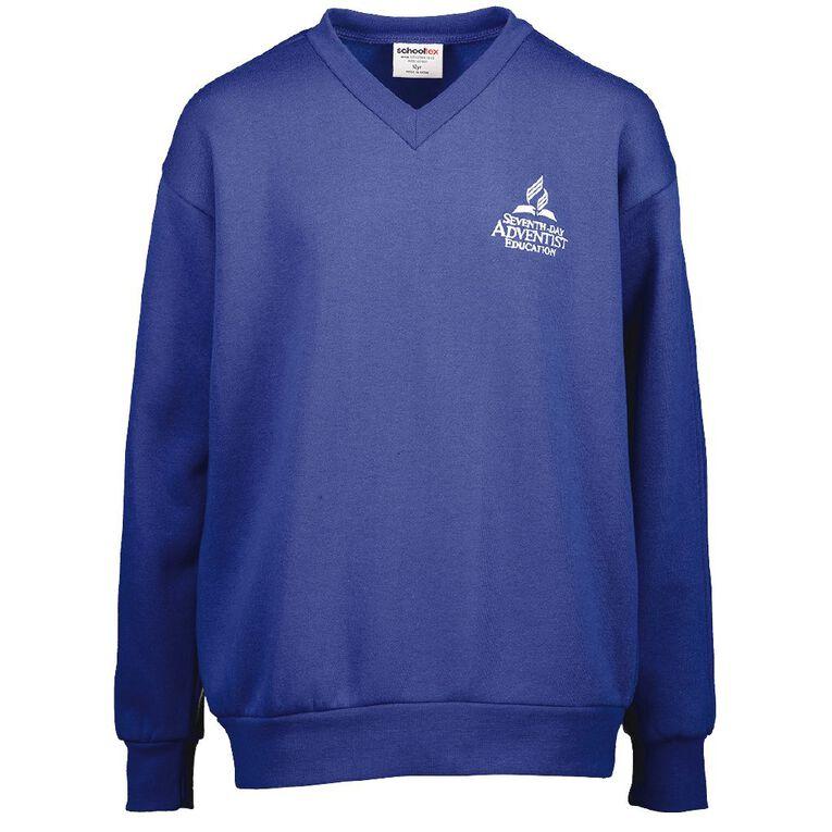Schooltex SDA V-Neck Sweatshirt with Embroidery, Royal, hi-res